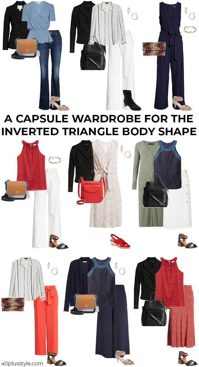 A capsule wardrobe for the inverted triangle body shape | 40plusstyle.com