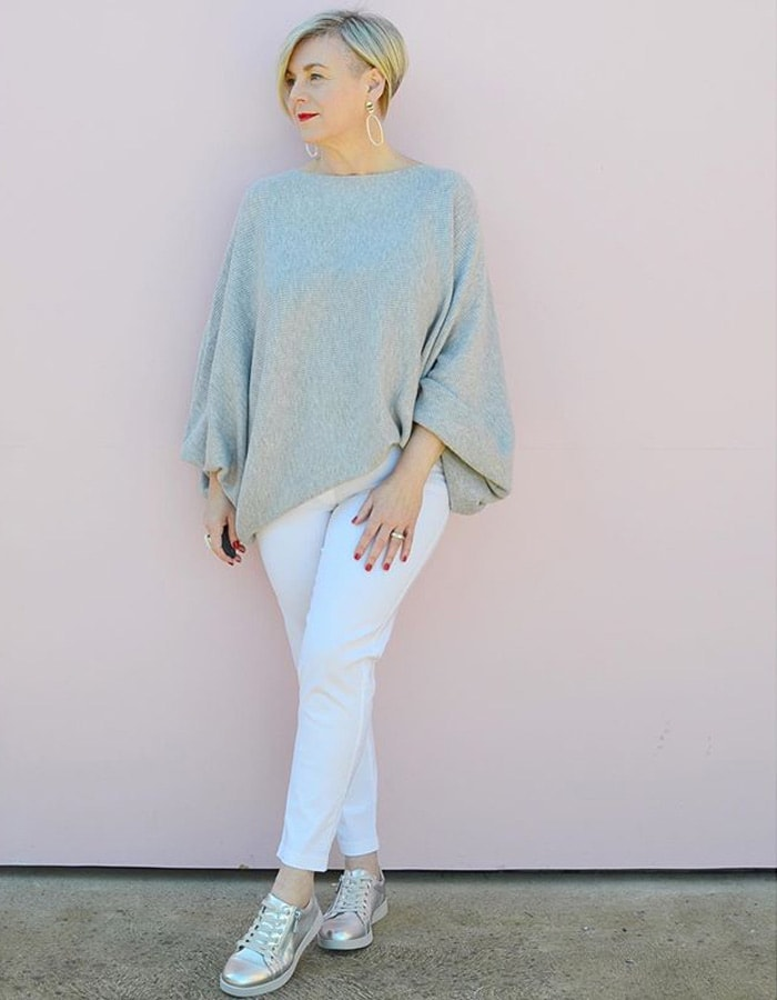 gray, white and silver outfit | 40plusstyle.com