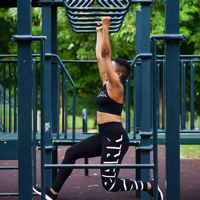 wearing matching workout clothes for a workout in the park | 40plusstyle.com