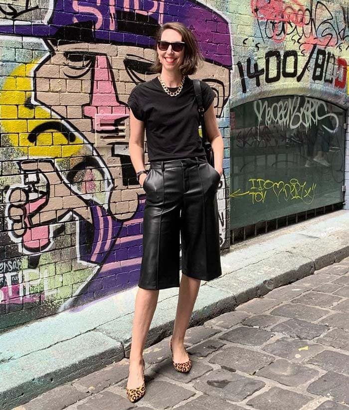 leather shorts are a big trend for 2020 | 40plusstyle.com