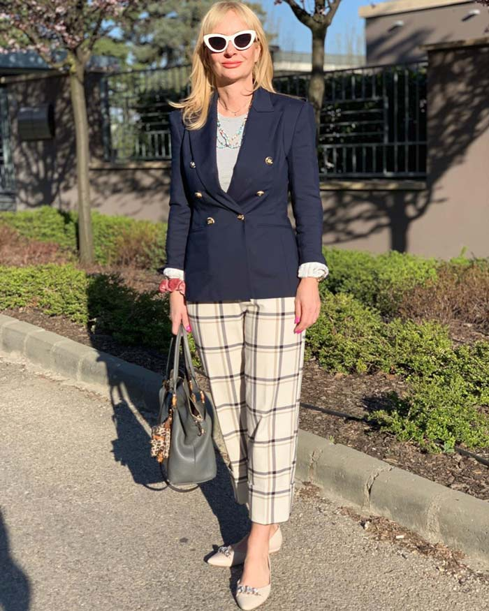 blazer and plaid pants | 40plusstyle.com