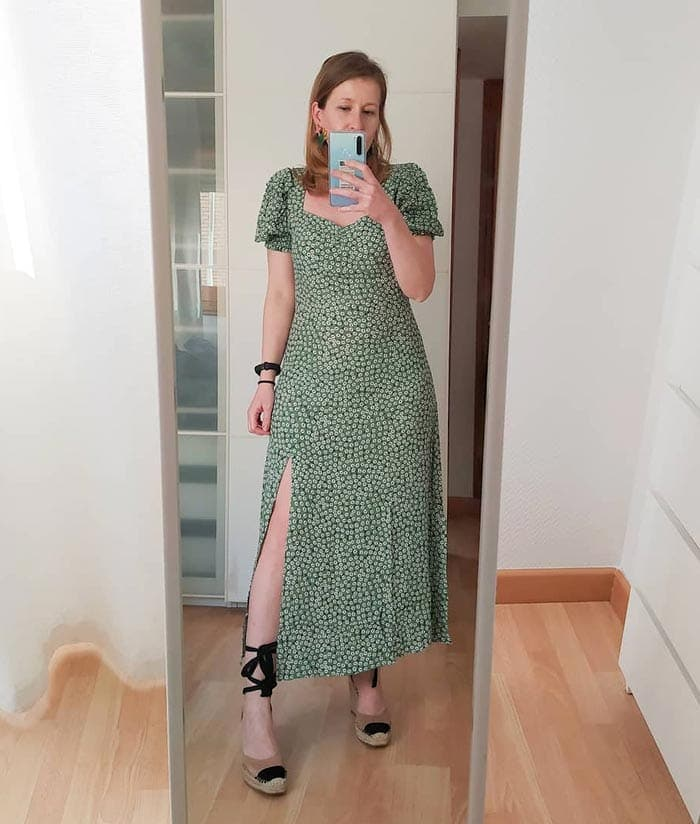 green midi dress with white daisies | 40plusstyle.com