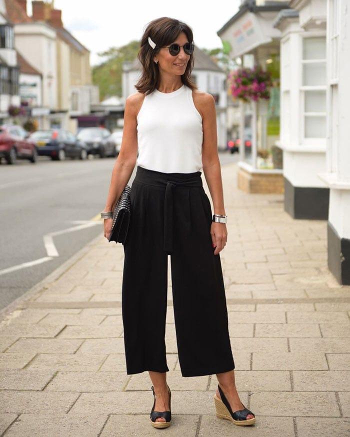 monochrome wide leg pants outfit | 40plusstyle.com
