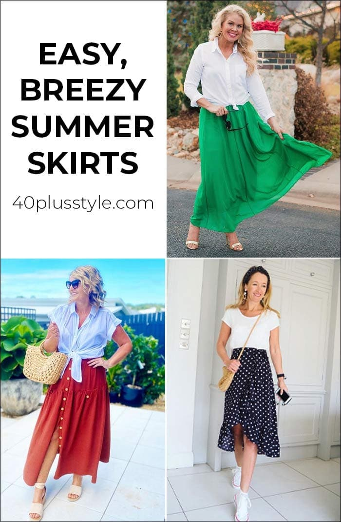 Easy breezy summer skirt outfits to wear for warmer months - and the best summer skirts in stores now | 40plusstyle.com