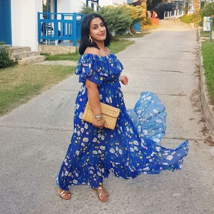 wearing a blue maxi dress with summer accessories | 40plusstyle.com