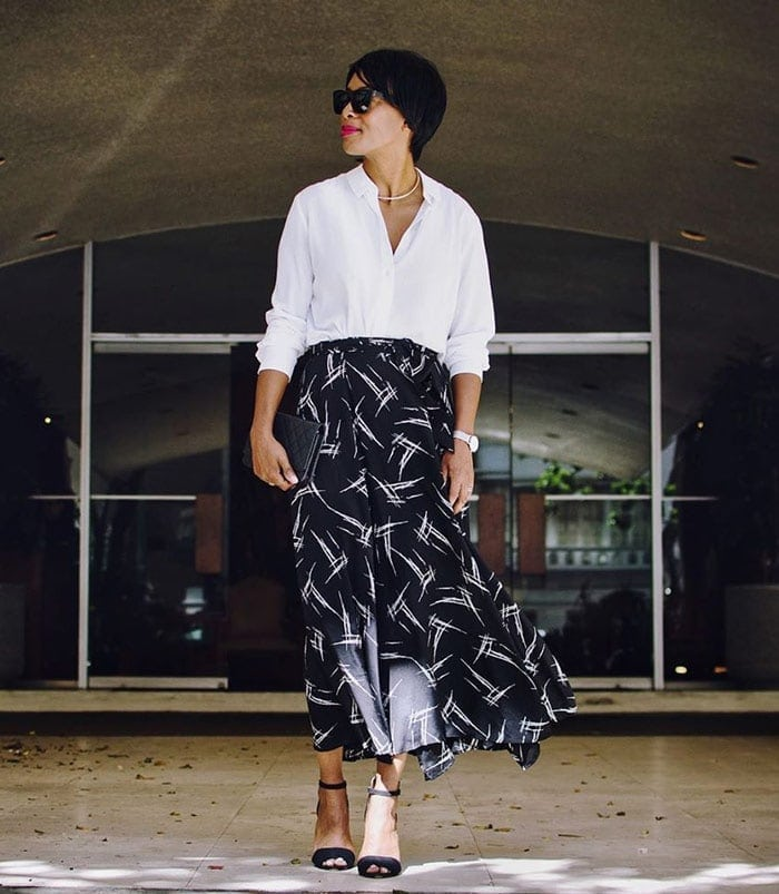 wearing a white shirt with a glamorous midi skirt | 40plusstyle.com