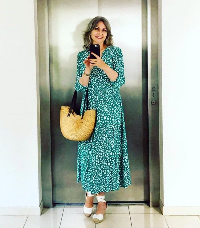 How to wear flat shoes - wearing ankle tie flats with a maxi dress | 40plusstyle.com