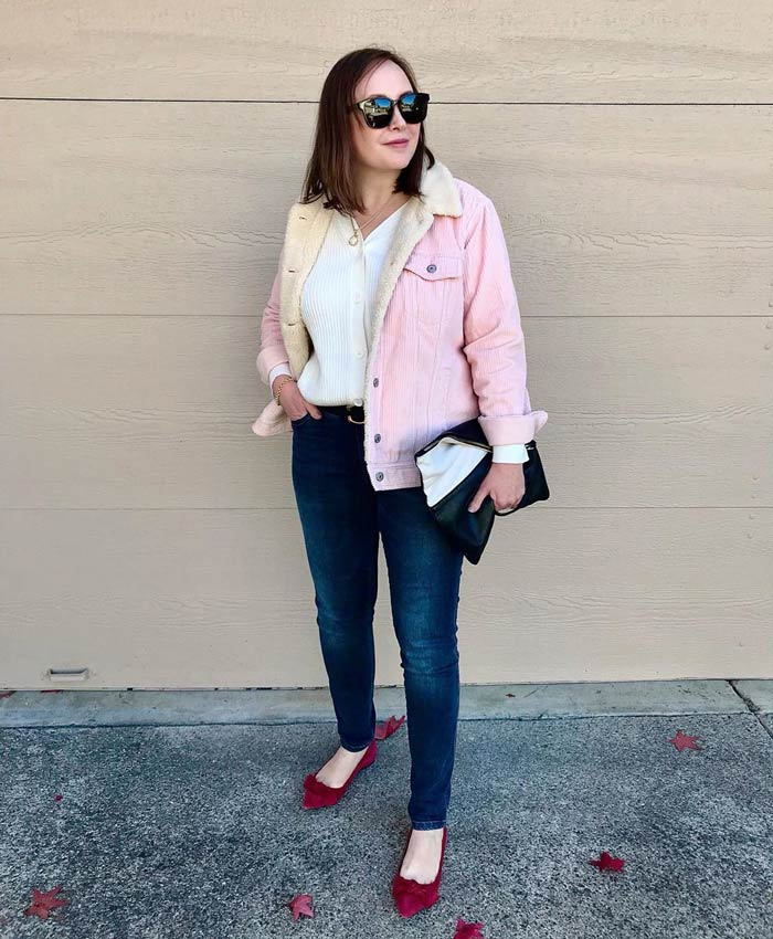 How to wear pink - Oxana wears a pink shearling jacket | 40plusstyle.com