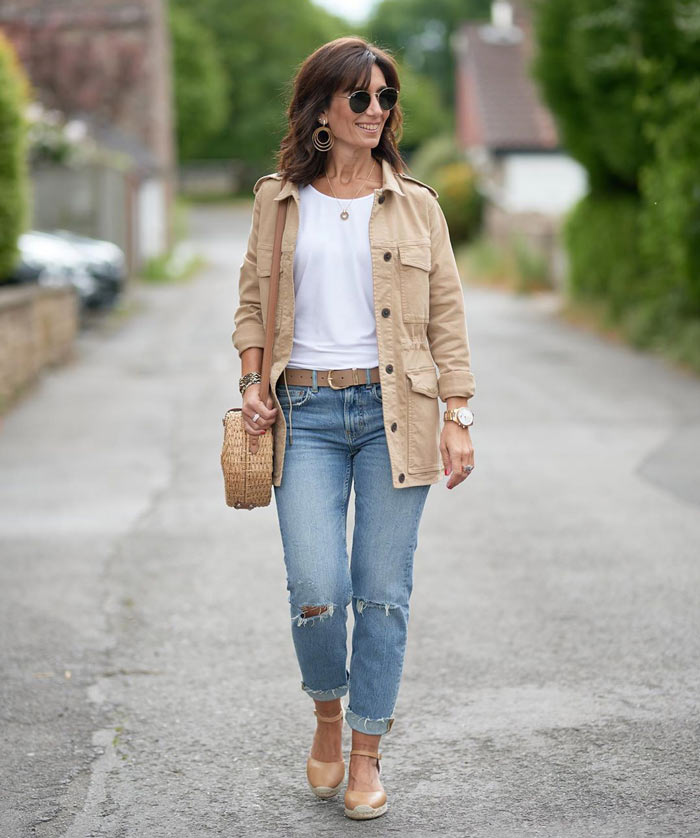 Patricia wears a utility jacket and jeans | 40plusstyle.com