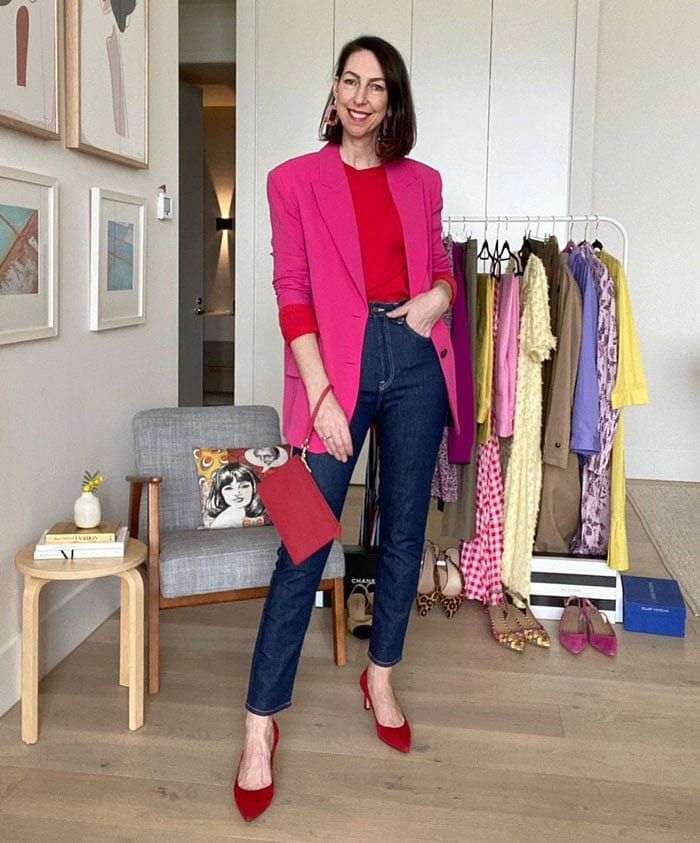 How to wear pink - Sally wears pink and red | 40plusstyle.com