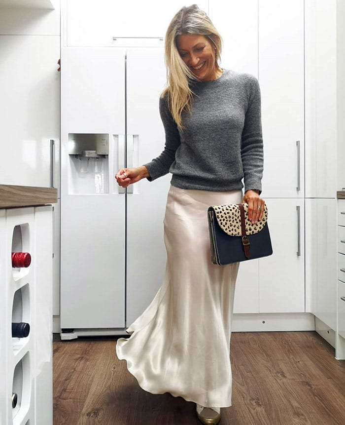 Abi wearing a round neck sweater with her maxi skirt | 40plusstyle.com