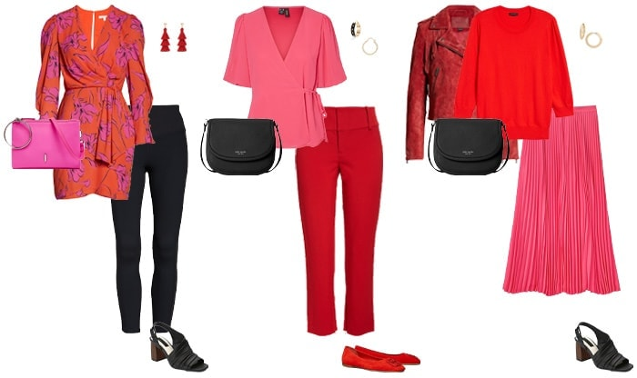 Red and shocking pink outfits   40plusstyle.com