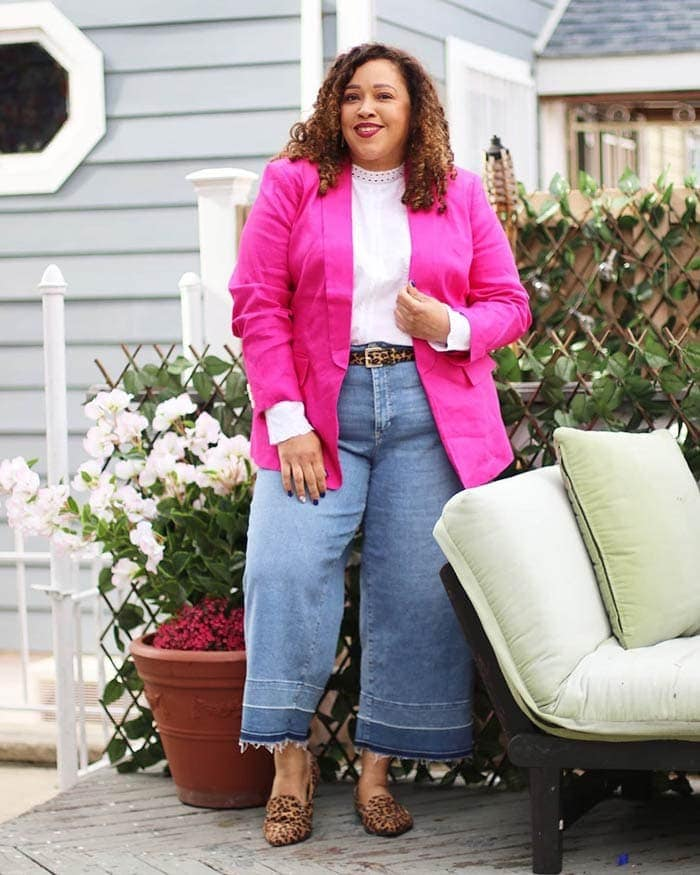 Wide leg jeans, blazer, mock neck blouse and loafers   40plusstyle.com