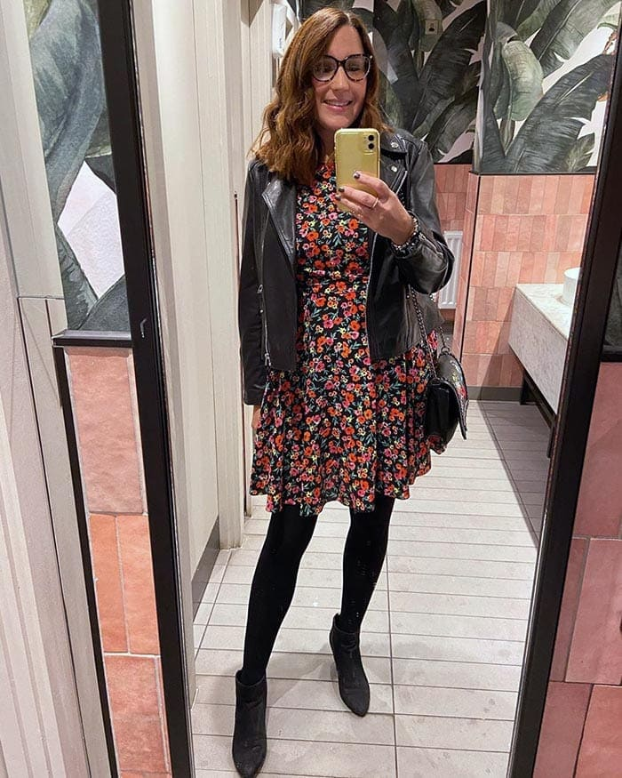 How to wear booties - Melissa wears booties with tights and a dress | 40plusstyle.com
