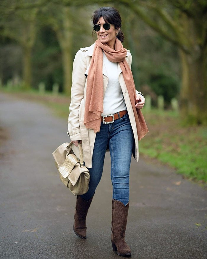 Winter wardrobe - Patricia wears skinny jeans and cowboy boots | 40plusstyle.com