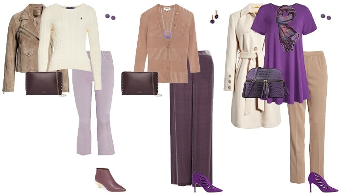 Purple and neutral outfits | 40plusstyle.com