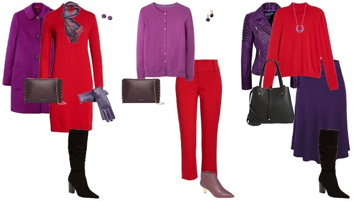 purple and red outfits | 40plusstyle.com