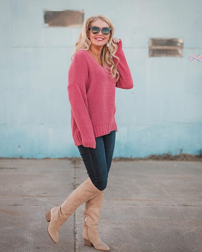 Shanna wears beige boots with jeans   40plusstyle.com
