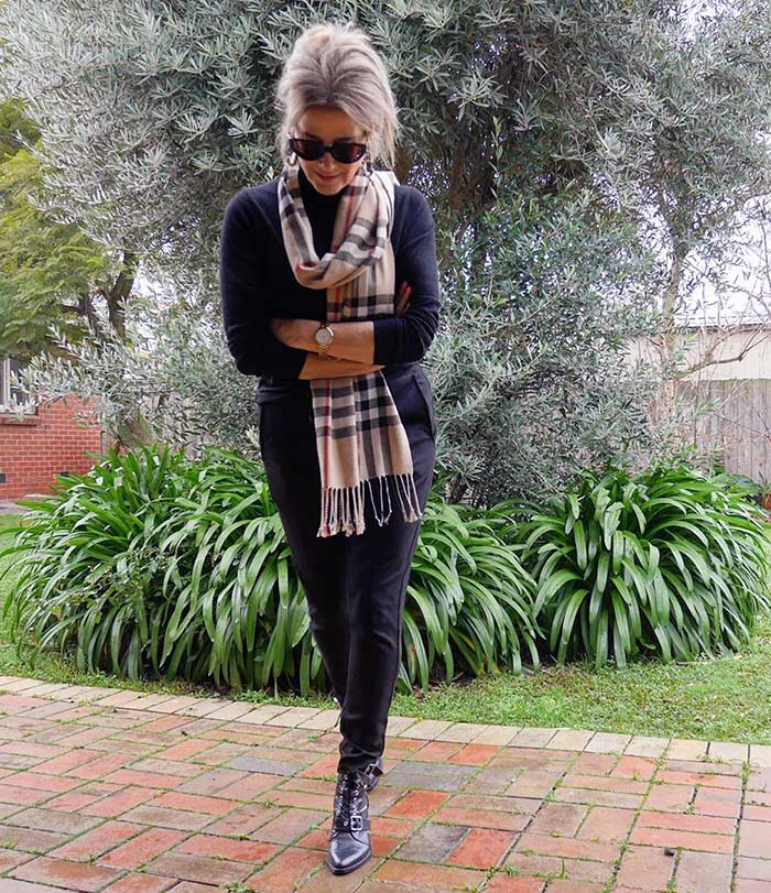 Winter wardrobe - Suzie wearing a neutral outfit with a check scarf | 40plusstyle.com