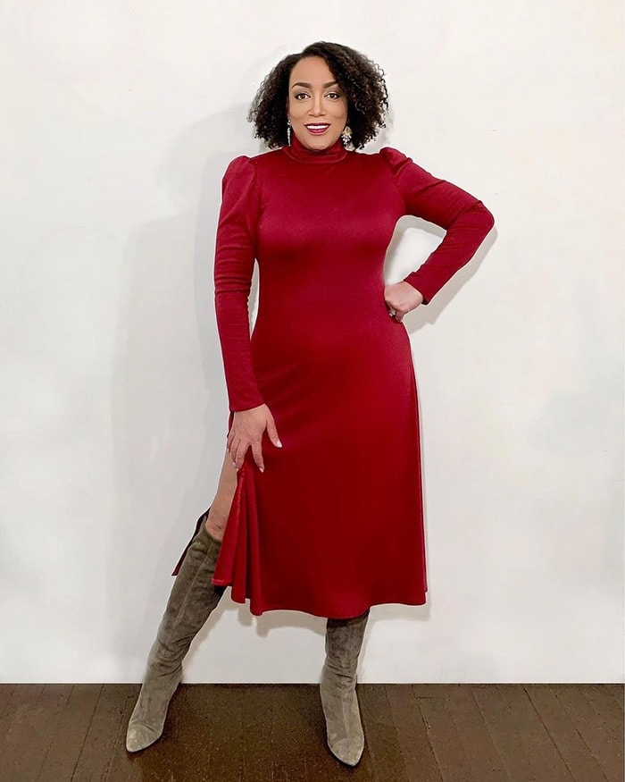 Wearing red for Christmas - Erica wears a red sweater dress   40plusstyle.com