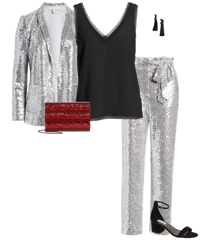 Christmas party outfit 7: Sequins   40plusstyle.com