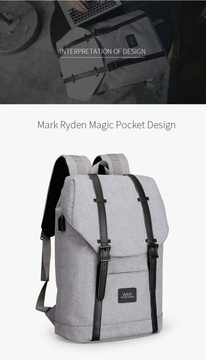 unisex grey school backpack
