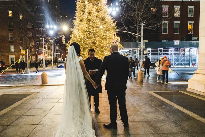 Christmas Eve micro wedding in Washington Square Park