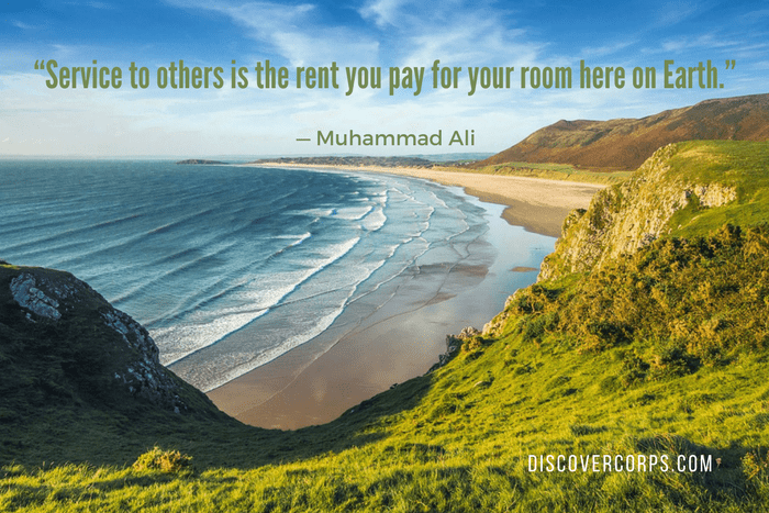 "Quotes About Volunteering ""Service to others is the rent you pay for your room here on Earth."""