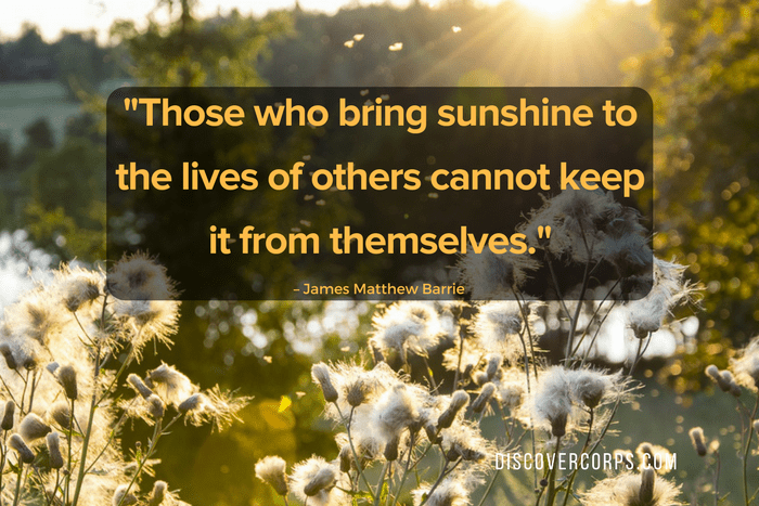 Quotes About Volunteering -Those who bring sunshine to the lives of others cannot keep it from themselves.-