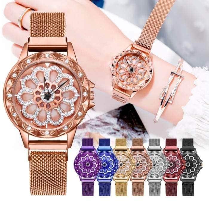 damski zegarek magnetyczny z obrotową tarczą