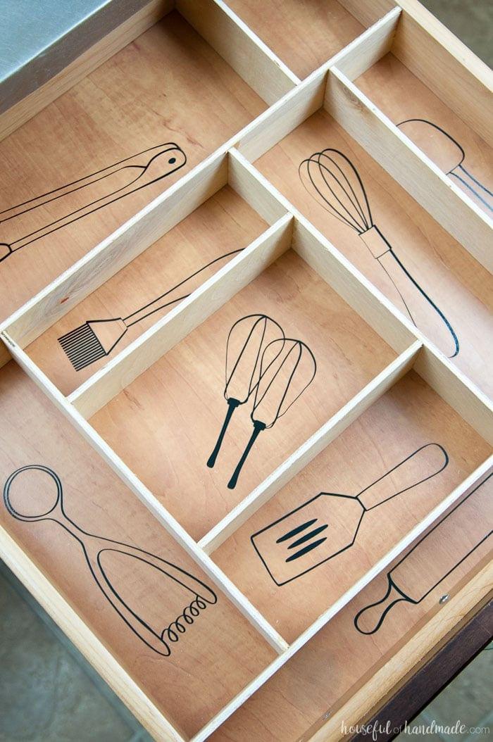 Kitchen Utensil Drawings & Kitchen Drawer Organization ...