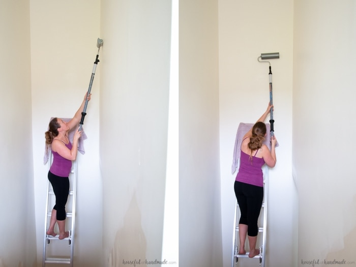 ez twist paint roller used on tall ceilings in hallway with scaffolding