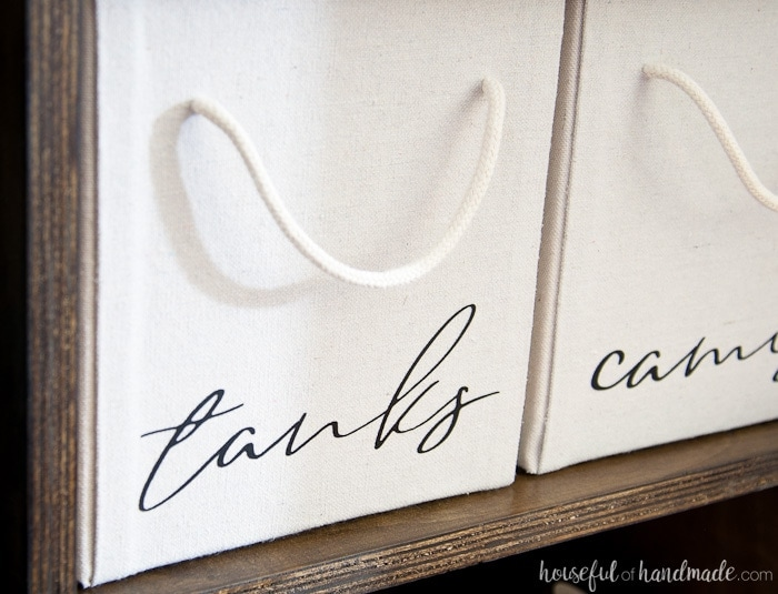 Upcycle cardboard boxes into these easy drop cloth storage boxes for only a couple dollars. They look like expensive store bought storage for a fraction of the cost. Housefulofhandmade.com