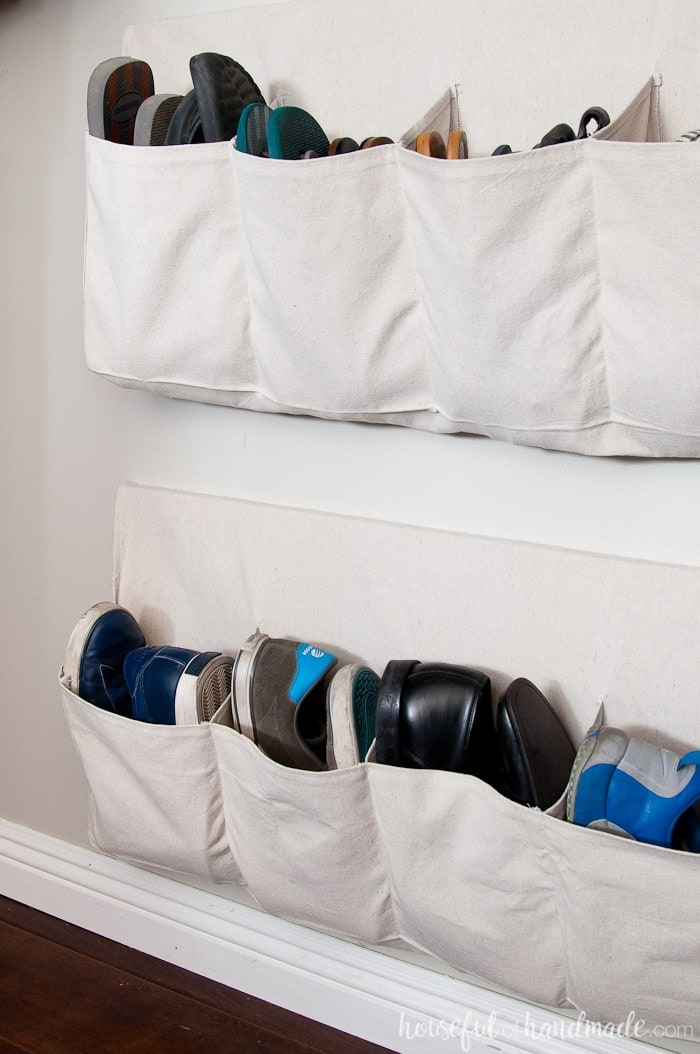 This hanging shoe storage is perfect for keeping all your shoes organized and off the floor. Housefulofhandmade.com