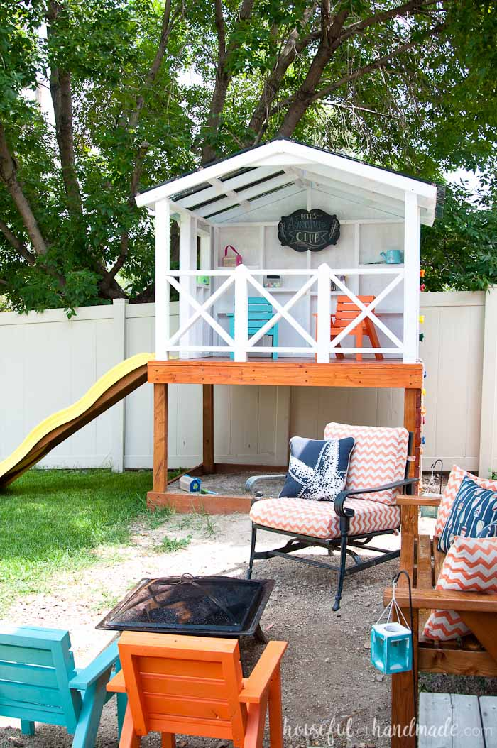 Even though we have a small yard, we were able o build an outdoor playhouse for the kids in our backyard. Get the tutorial at Housefulofhandmade.com