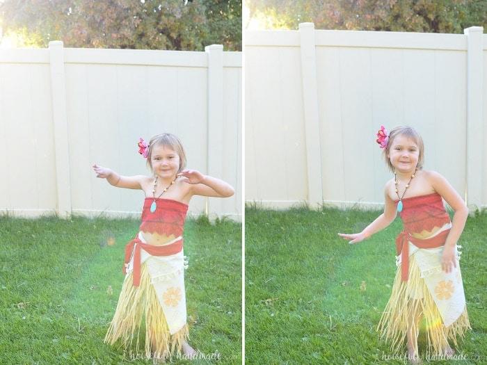 This DIY Disney Moana costume shown on little girl doing the hula.