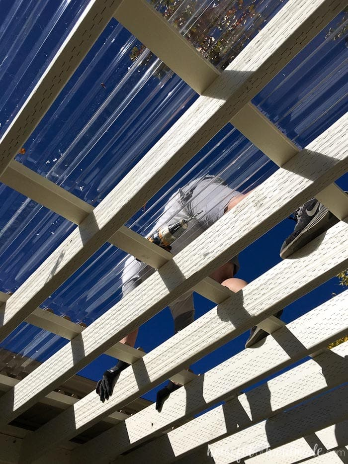 Learn how to install the clear pergola roof. The panels are so easy to work with. Housefulofhandmade.com