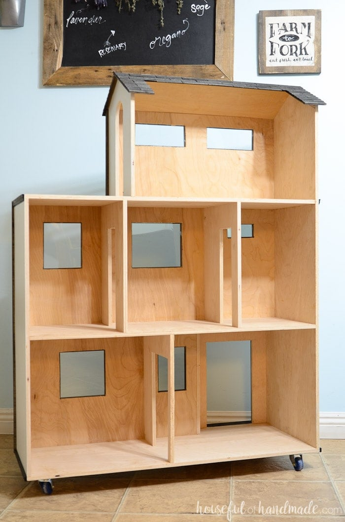 Create a handmade dollhouse for Barbie dolls with these free plans. Then see how we decorated the dollhouse exterior on a budget. Housefulofhandmade.com