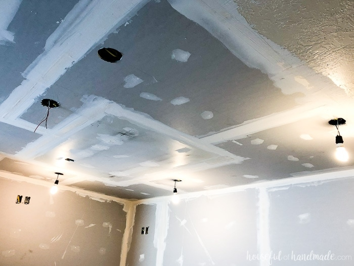 So excited to have the ceiling drywall done. Our 6 week DIY kitchen remodel is back on track. Housefulofhandmade.com
