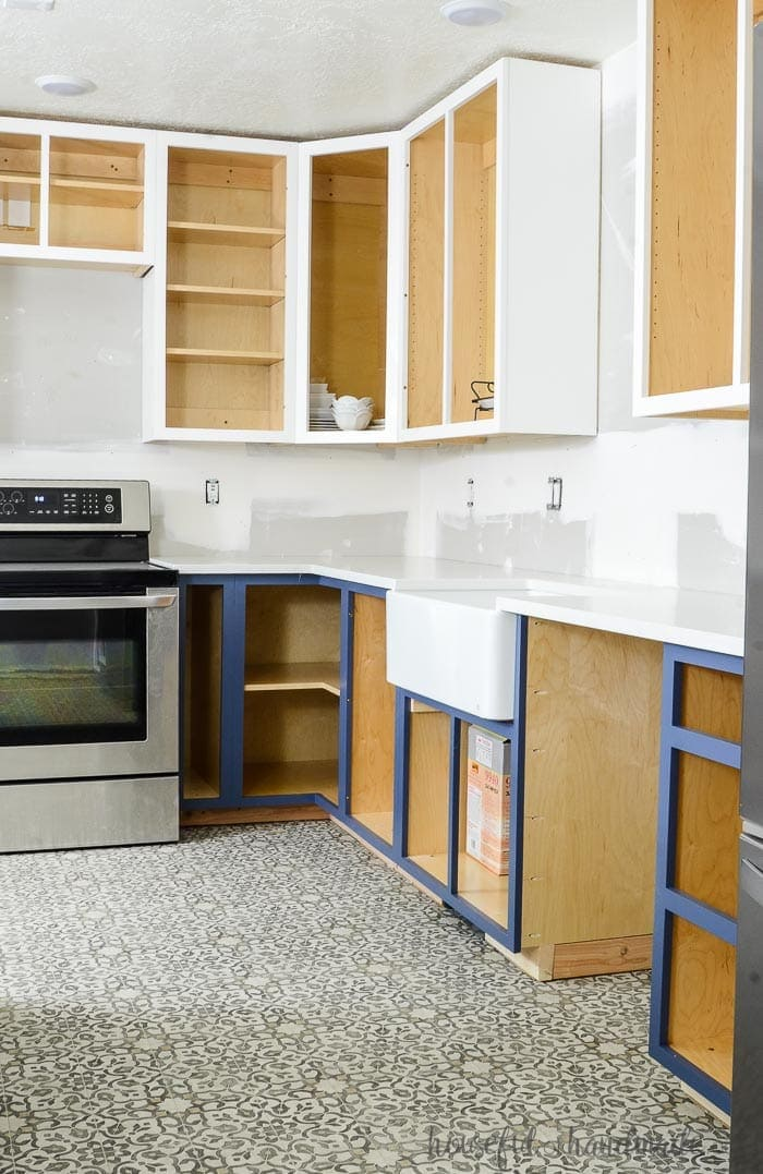 Kitchen remodel with homemade kitchen cabinets installed.