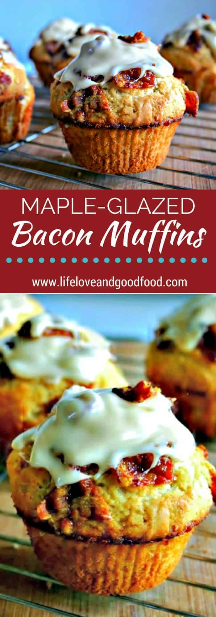 Sweet and salty at it's finest. Maple-Glazed Bacon Muffins make a delicious brunch dessert.