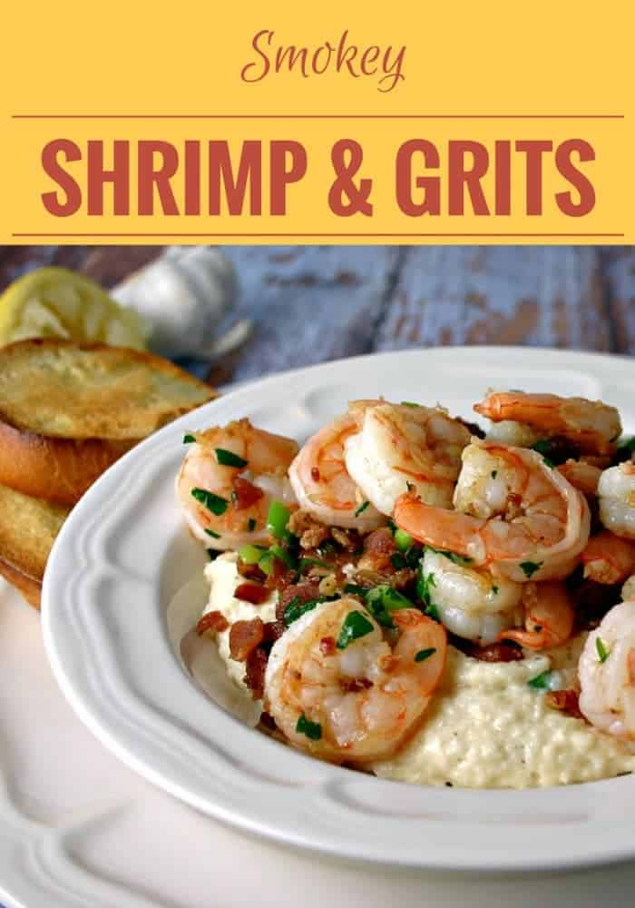 Smokey Shrimp & Grits - seasoned with bacon, a little garlic, and fresh lemon juice - served with a loaf of crusty bread makes a delicious one-bowl dinner.