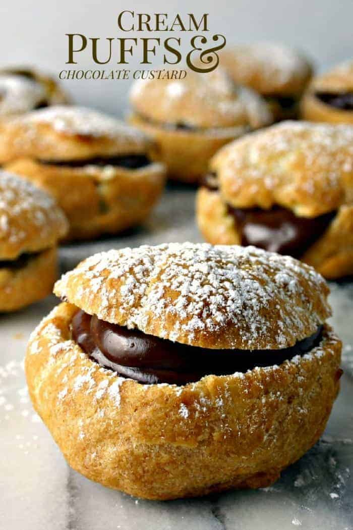 Cream Puffs with Chocolate Custard - light an airy pastry with a decadent chocolate filling.