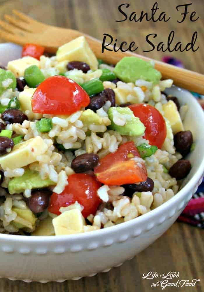 Chilled Santa Fe Rice Salad is a great side dish idea for taco night and is even filling enough for a light workday lunch. | Life, Love, and Good Food