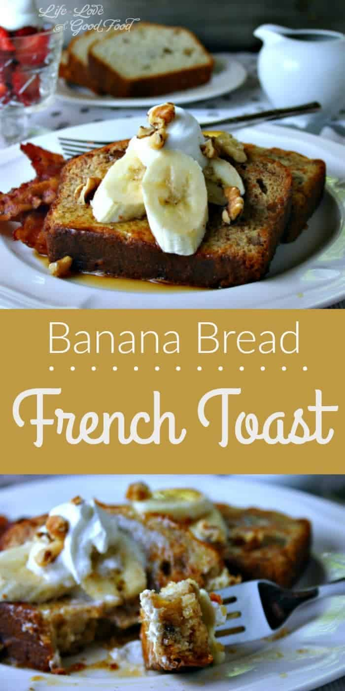 Banana Bread French Toast served with fresh banana slices, toasted walnuts, and warm maple syrup.