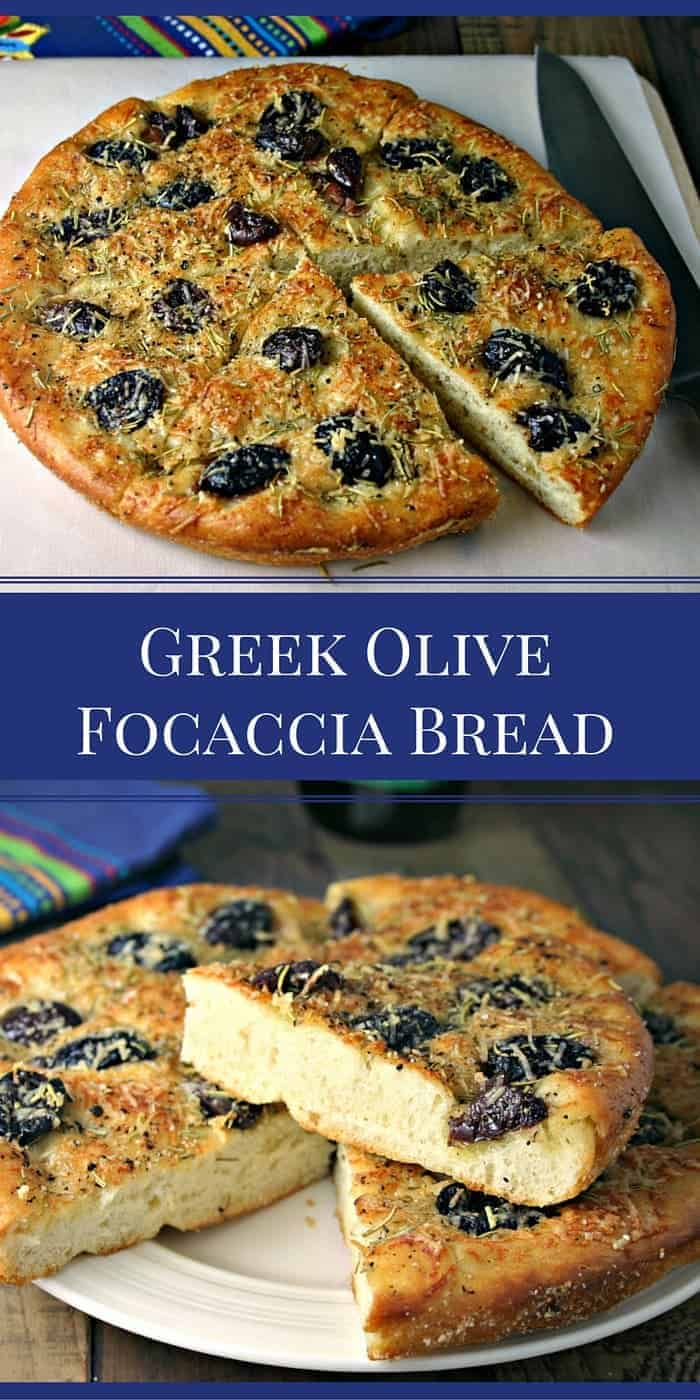 Greek Olive Focaccia Bread is a simple recipe that can be prepared with your favorite pizza dough recipe or by using a store bought pizza dough.