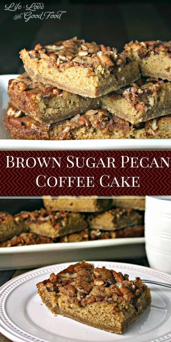 Brown Sugar Pecan Coffee Cake is a deliciously moist coffee cake on a brown sugar crumb crust with a pecan topping baked right on top.