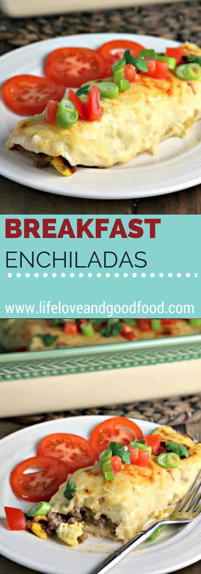 Breakfast Enchiladas—filled with savory sausage, eggs, and cheese—are smothered with a versatile green chili cheese sauce. #3ggs