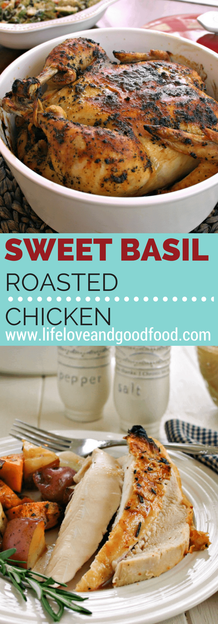 Getting back to the basics in the kitchen with Sweet Basil Roasted Chicken – moist, juicy, and the ultimate Sunday supper. #chickendinner #roastchicken