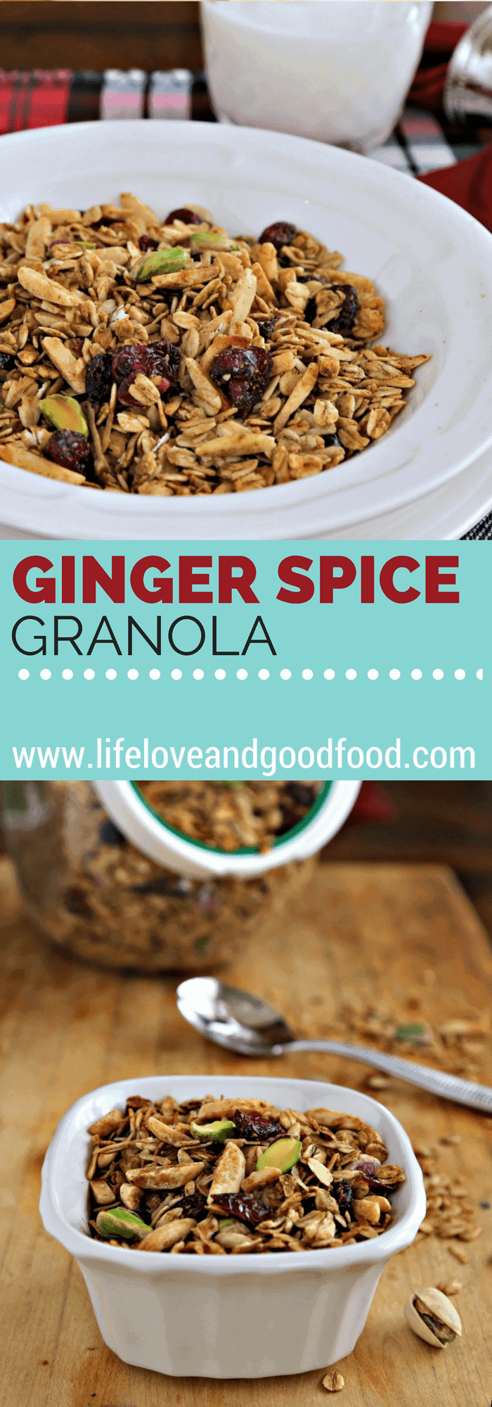 Sweetened with maple syrup and molasses, Ginger Spice Granola gets a nice crunch from toasted coconut and almonds and bakes in just 30 minutes!